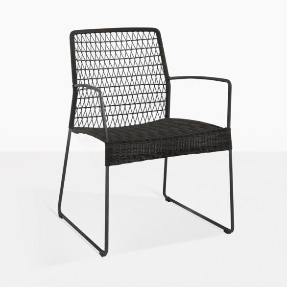 Edge Modern Black Wicker Dining Arm Chair