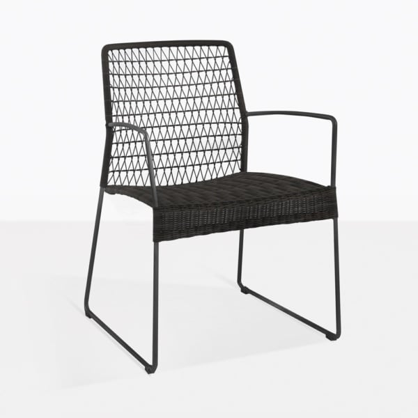 Edge Modern Black Wicker Dining Arm Chair