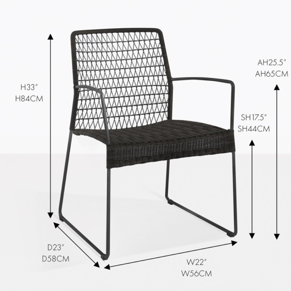 edge black arm dining chair