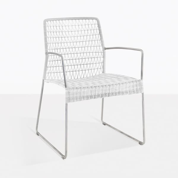 Edge White Wicker Dining Arm Chair
