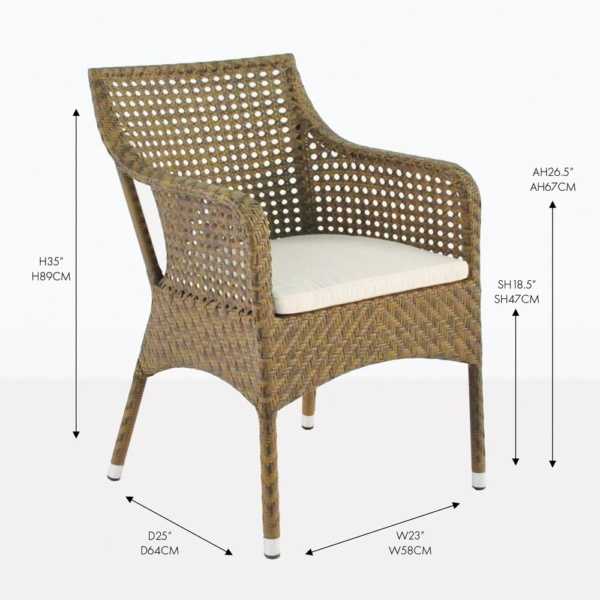 ellen wicker dining arm chair