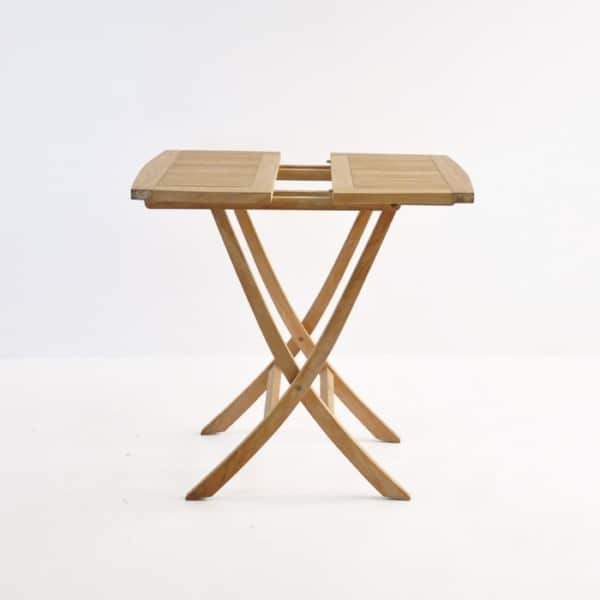 folding square teak table (bag table) side view