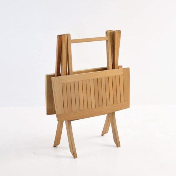 folding square teak table (bag table) folded side