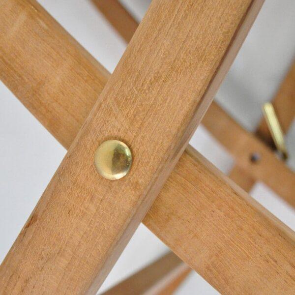 square teak folding table 27in closeup