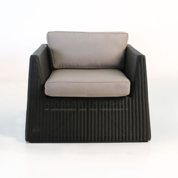 front - giorgio wicker outdoor club chair black front view