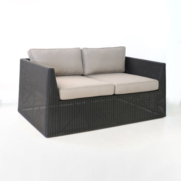 front angle - Giorgio Outdoor Wicker Loveseat (Black)-0