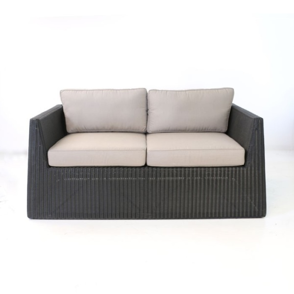 front - black wicker patio loveseat front view