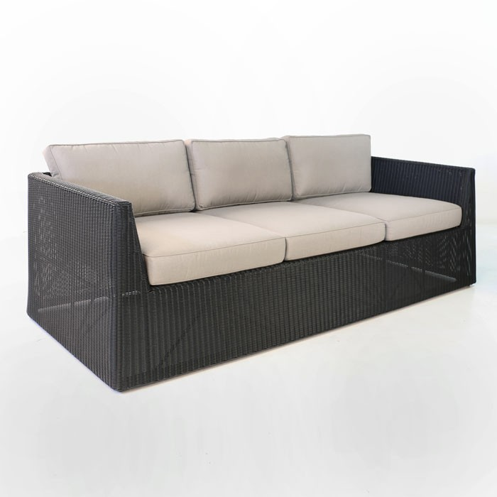 Black wicker sofa for Antigua wicker chaise