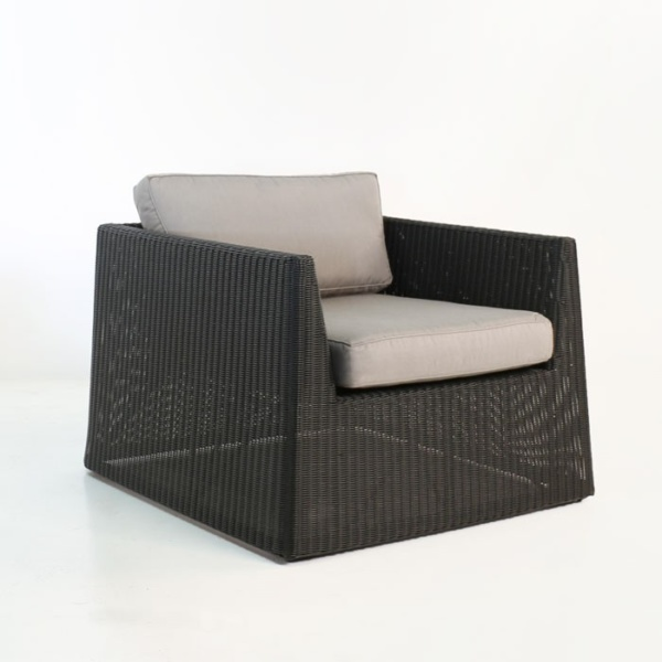 side view - Giorgio Outdoor Wicker Club Chair (Black)-0