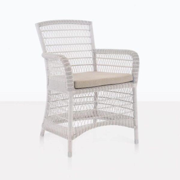 Hampton White Wicker Dining Arm Chair