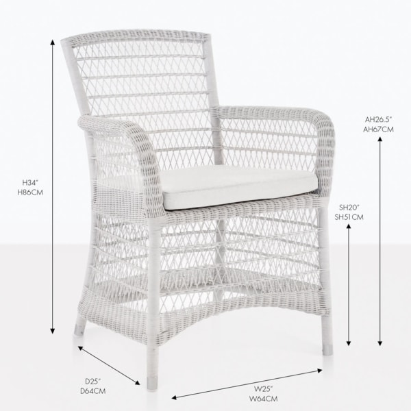 Hampton White Wicker Dining Chair With Measurements