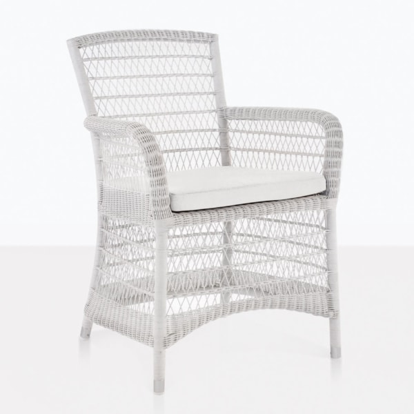 Hampton White Wicker Outdoor Dining Chair With Seat Cushion