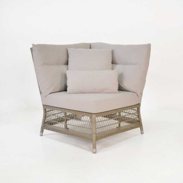 Hampton Outdoor Wicker Sectional Pebble (Corner) 0 Hampton Corner Chair ...