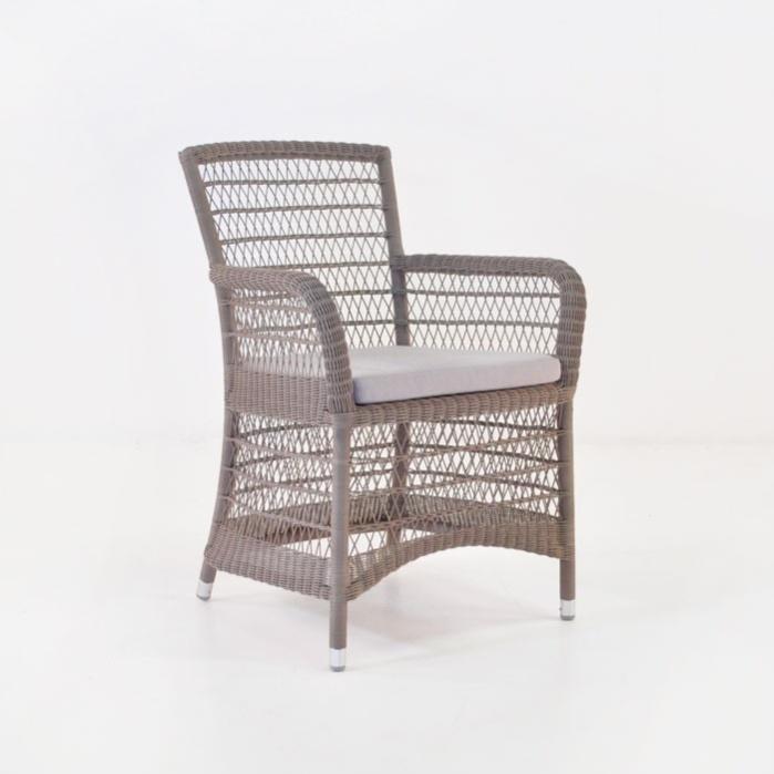 hampton wicker dining arm chair pebble0