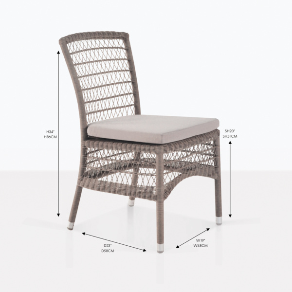 hampton side wicker dining chair