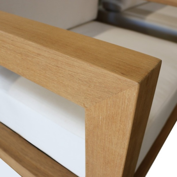 Patio furniture - high quality teak arm closeup