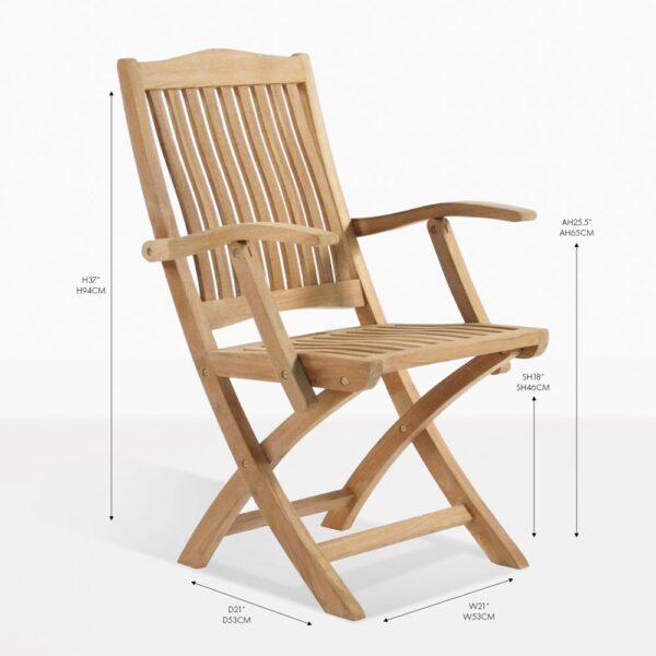 kensington teak folding arm chair