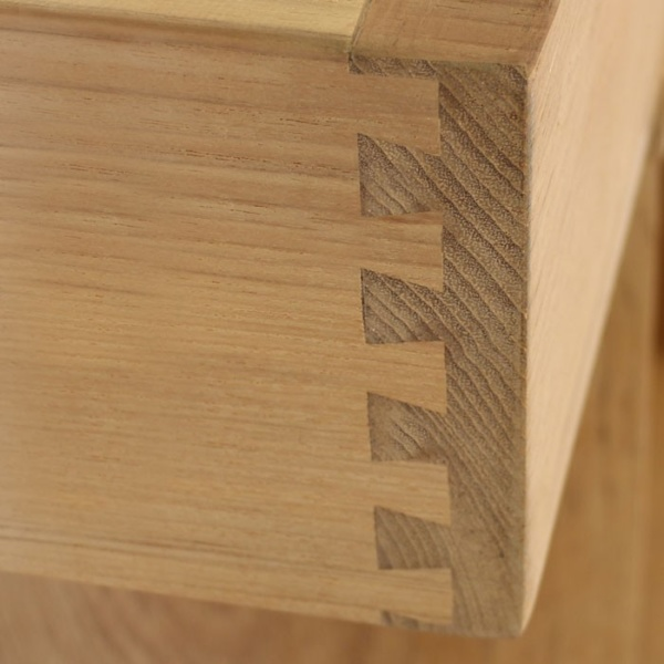 close-up of teak dovetail joint