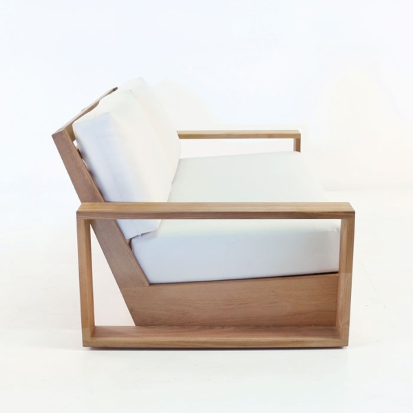 teak patio love seat with white cushion