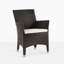 Luigi Brown Wicker Dining Chair With Cushion