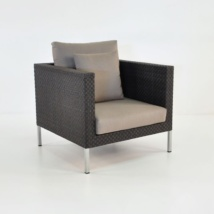 Madison Outdoor Wicker Club Chair in Black