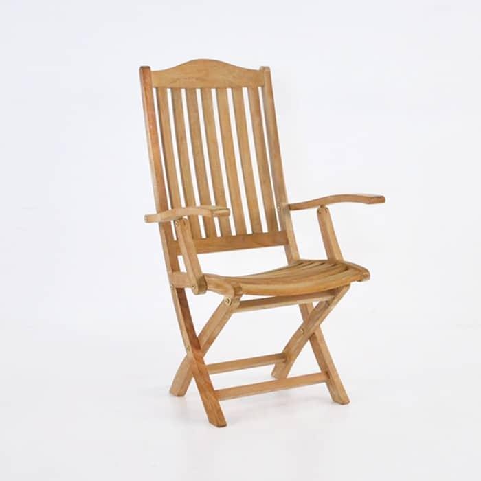 Marina Teak Folding Arm Chair Outdoor Cafe Patio Dining