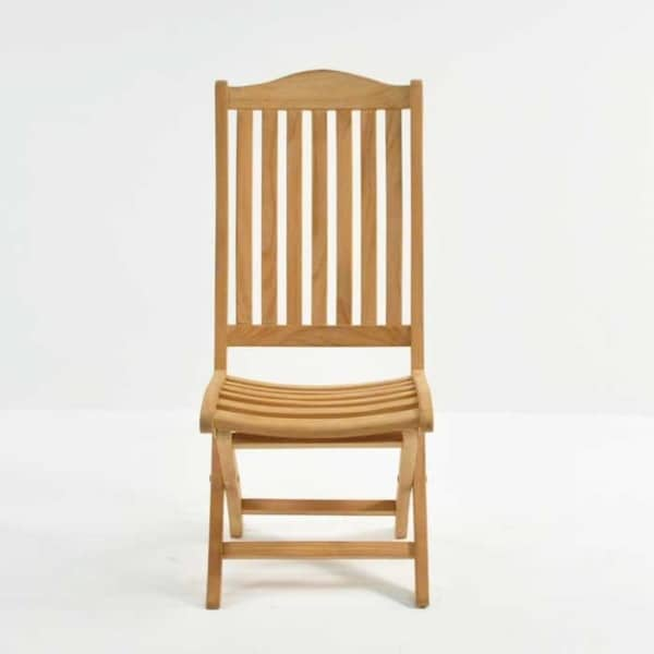 marina teak folding outdoor dining chair front view