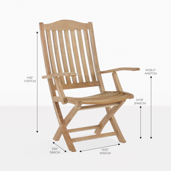 marina teak arm folding chair