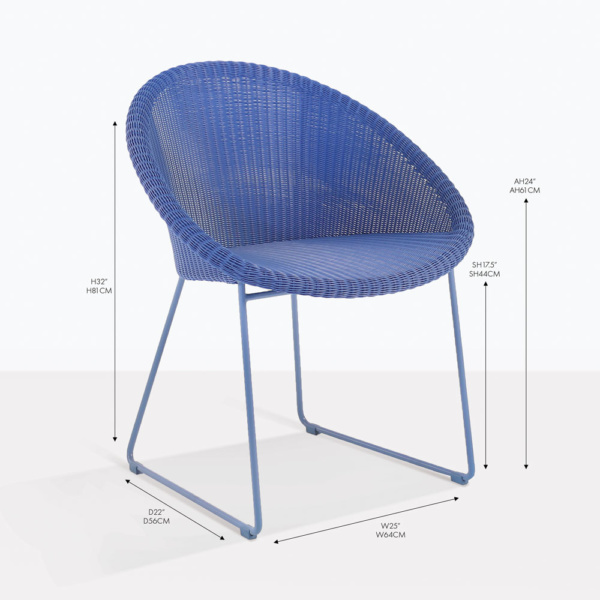 metro wicker blue arm chair