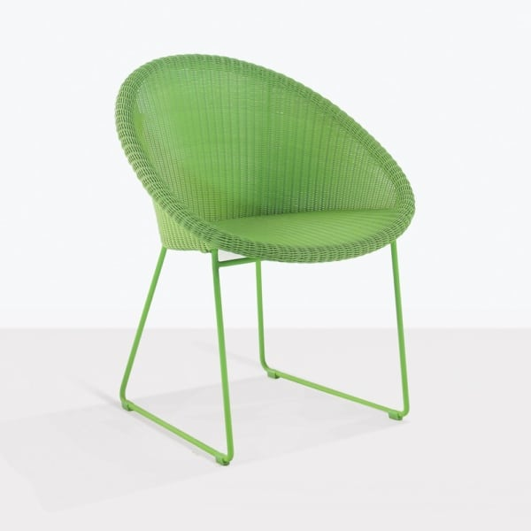metro green angle dining chair