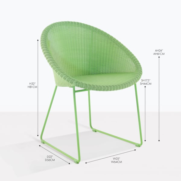 metro green wicker dining arm chair