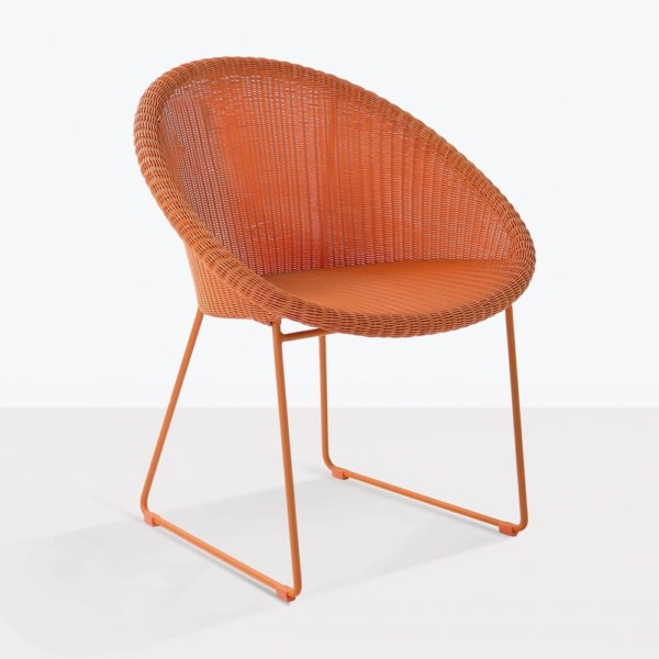 metro orange angle dining chair