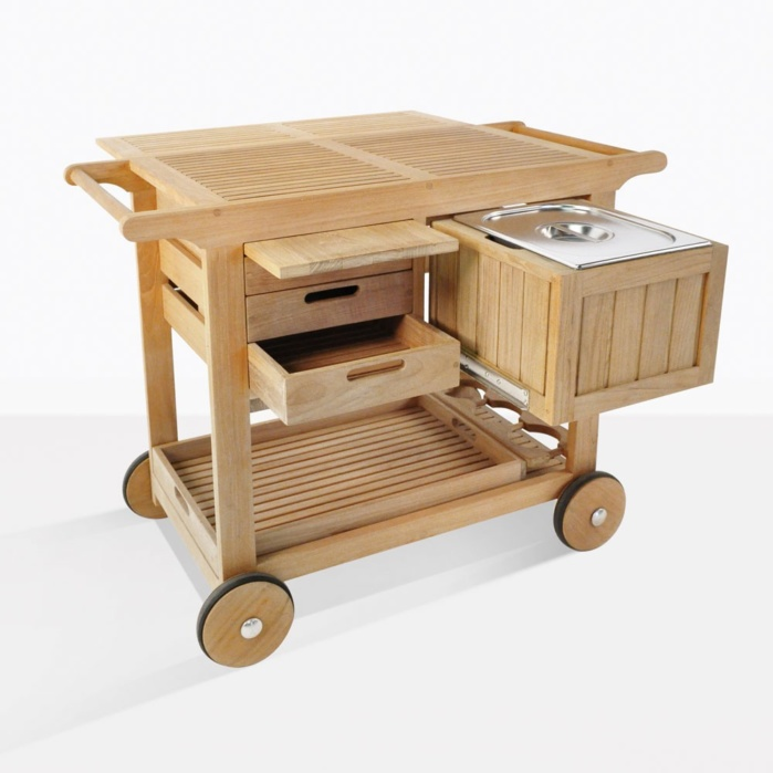 Monaco Teak Bar And Serving Cart With Wheels