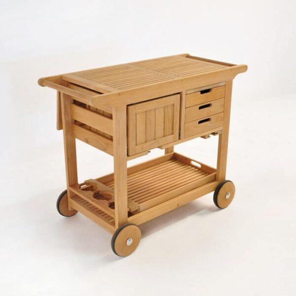monaco teak bar cart closed
