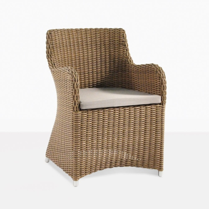 Moni Wicker Dining Chair In Sandy Brown