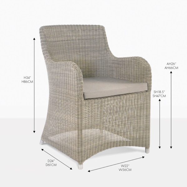 moni stone wash wicker dining chair