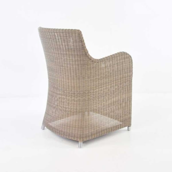 back of moni wicker dining chair in stonewash