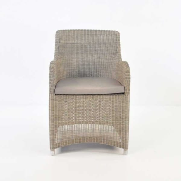 front of moni wicker dining chair in stonewash
