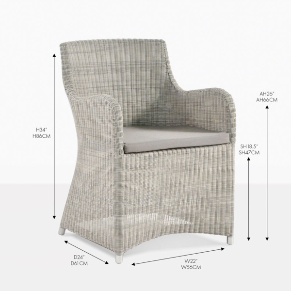 moni white wicker dining chair