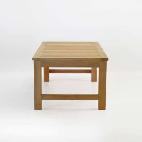 monterey teak coffee table end view