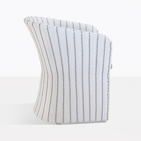 Nautical White Wicker Tub Chair Side View