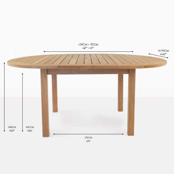 Nova round teak extension dining table