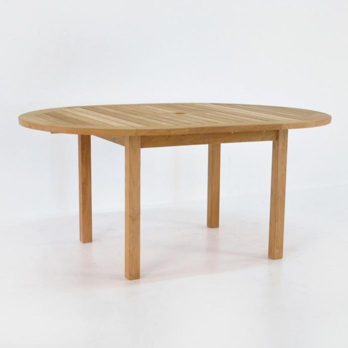Nova round teak extension outdoor dining table teak for Round teak outdoor table