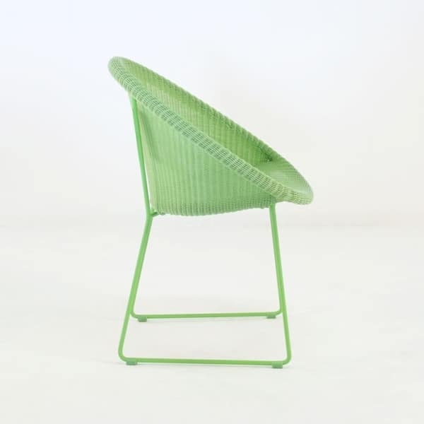 metro outdoor wicker dining chair green side view