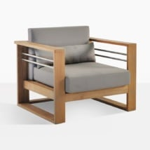 Pacific Teak And Steel Club Chair