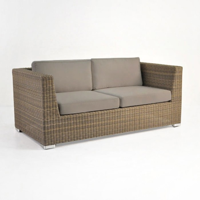 Paulo Outdoor Wicker Loveseat (Sand)-0