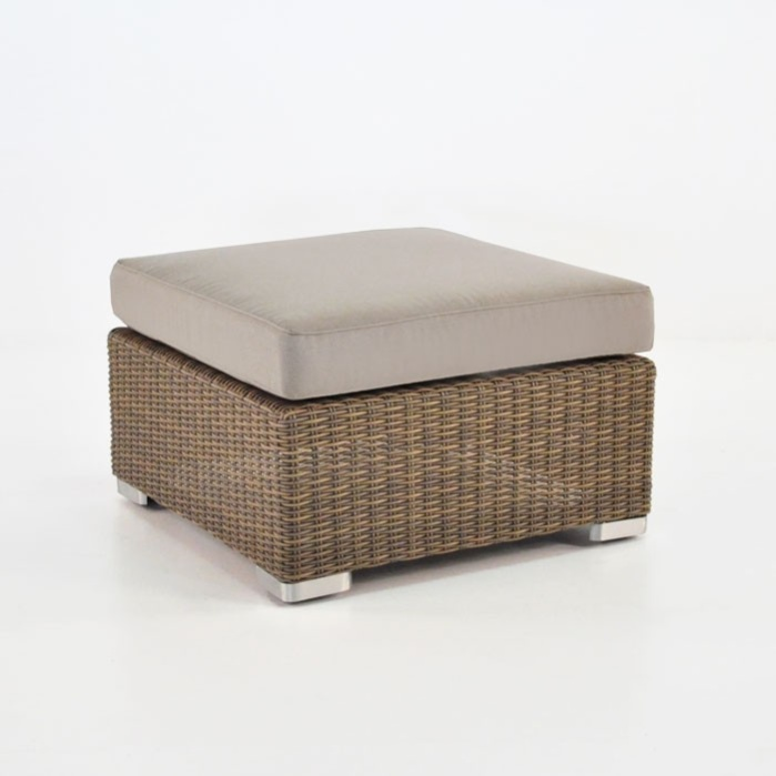 Paulo Outdoor Wicker Ottoman (Sand)-0