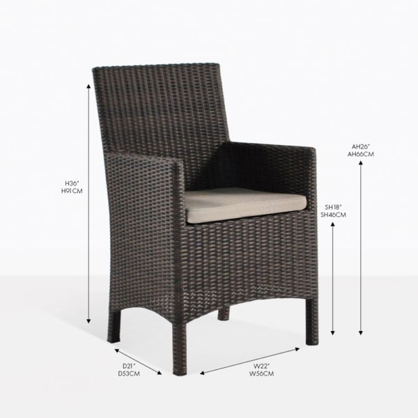 petra wicker java dining arm chair