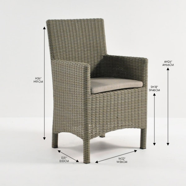 petra kubu wicker arm dining chair