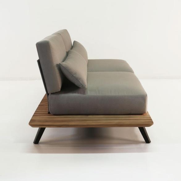 side platform aluminum taupe cushions